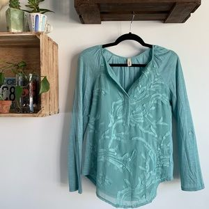 Anthropologie blue embroidered long sleeve blouse